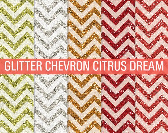 Glitter Chevron Textures Citrus