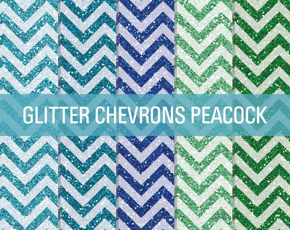 Glitter Chevron Textures Peacock