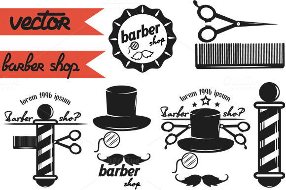 A Set Of Logos For Barber Shop