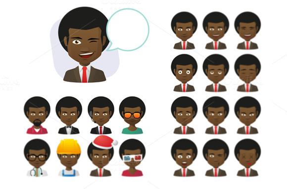Young Afro-American Male Avatar Set