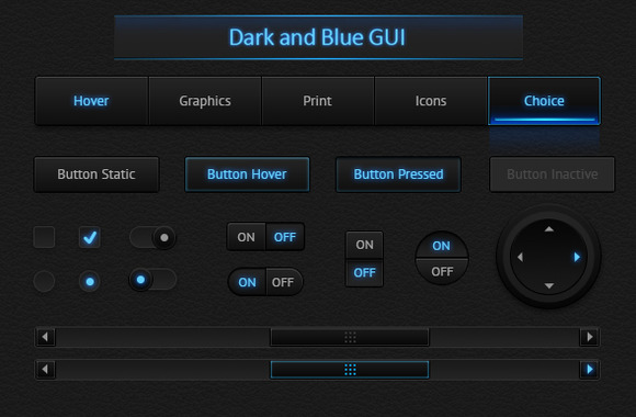 Dark And Blue User Interface Kit