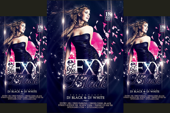 Sexy In Black Party Flyer