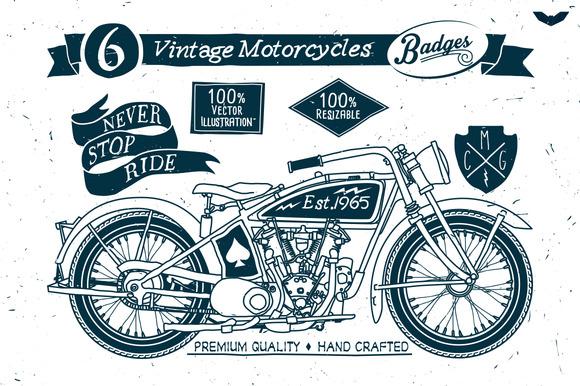 6 Vintage Motorcycles Badges