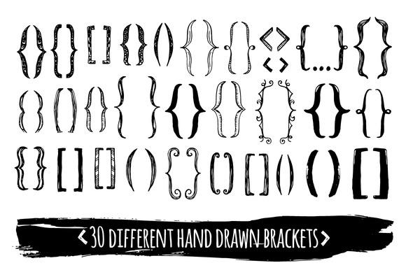 30 Hand Drawn EPS Brackets Pack