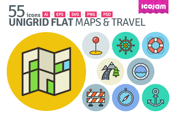 UniGrid Flat Maps Travel