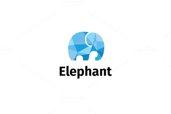 Frosty Elephant Low-poly Logo