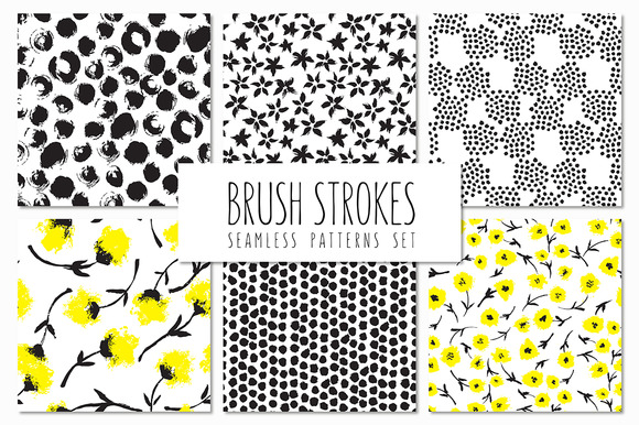 Brush Strokes Seamless Patterns V.5