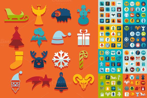 9 Mini Sets Of Christmas Flat Icons