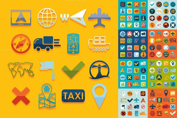 9 Mini Sets Of Navigation Flat Icons