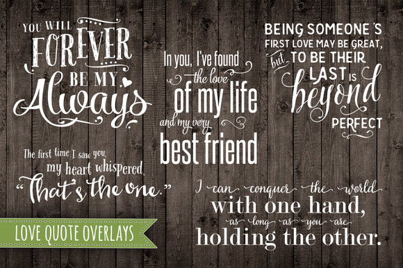 5 Vector Love Quote Overlays