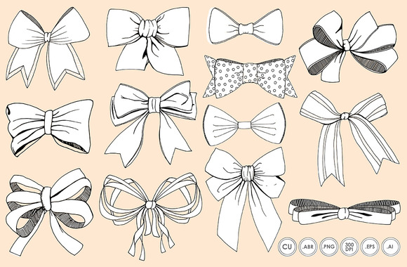 Bows Ribbons Line Art Silhouette