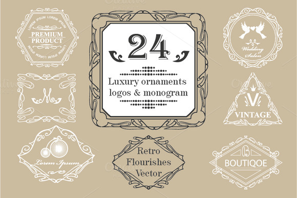 24 Vintage Luxury Logos Monograms