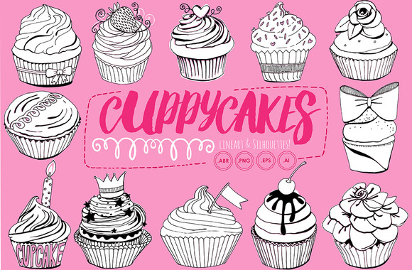 Birthday Cupcake LineArt Silhouette