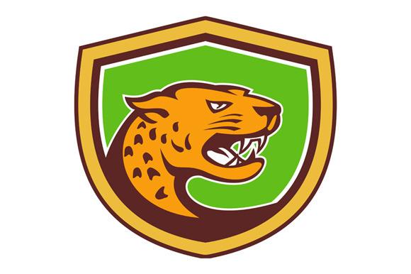 Jaguar Head Side Growling Shield Ret