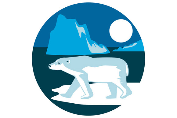 Polar Bear Iceberg Circle Retro