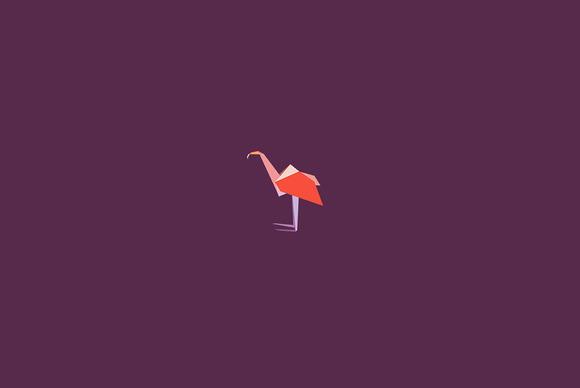 Origami Flamingo Icon