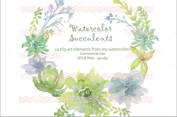 Digital Soft Watercolor Succulents I