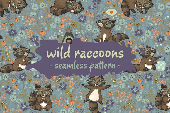 Wild Raccoons Pattern