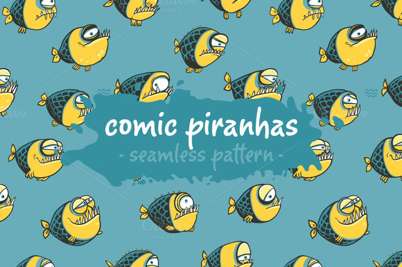 Comic Piranhas Pattern