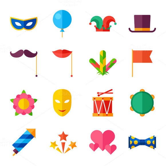 Carnival Set Of Flat Icons