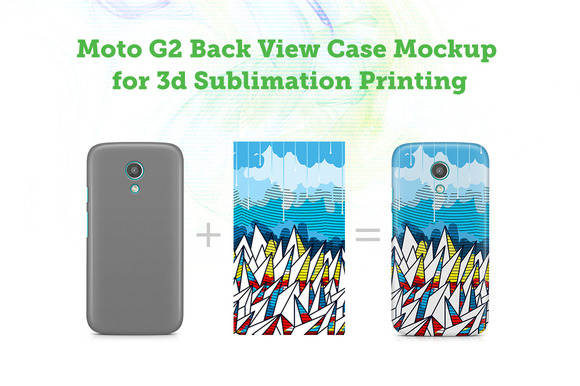 Moto G2 Back View Case 3D Mockup