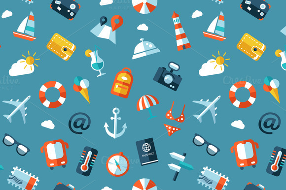 Flat Design Travel Icons Pattern