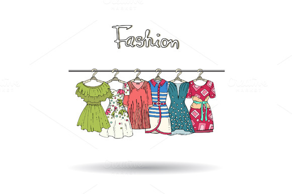 Illustration With Dresses On Hangers