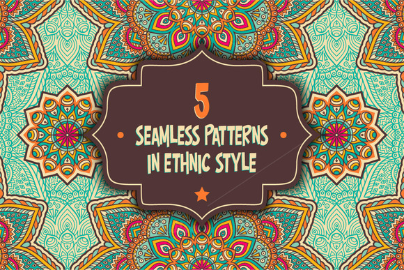 5 Seamless Patterns In Ethnic Style