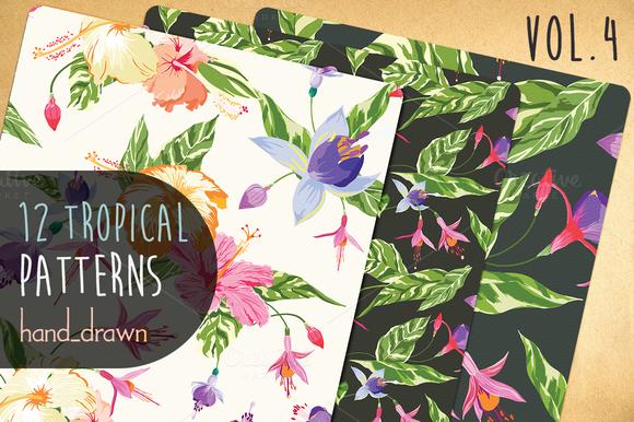 12 Floral Tropical Patterns Vol4