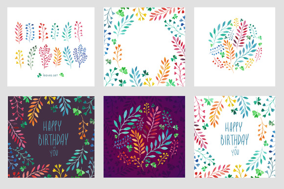 Colorful Leaves In Watercolor Cards