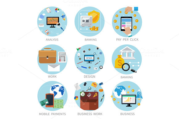 Icons Set For Business