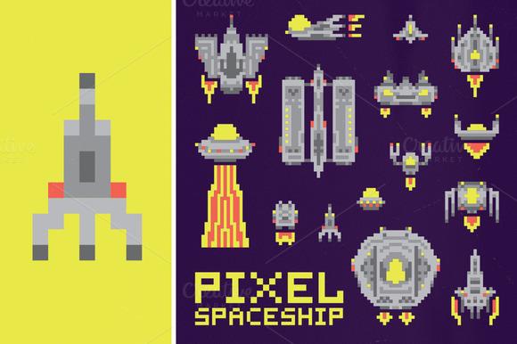 Pixel Spaceship Set