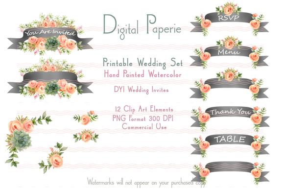 Printable DYI Wedding Set Banners