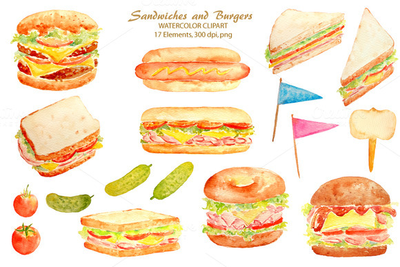 Watercolor Sandwich Burger Hotdog