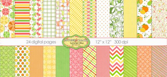 24 Summer Citrus Digital Papers