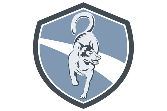 Husky Dog Crest Retro