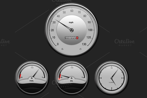 White Car Gauges Set