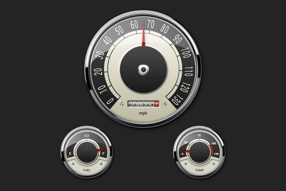 Retro Car Gauges Set