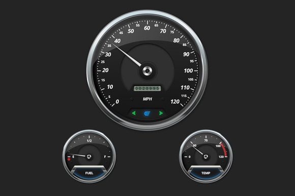 Modern Car Gauges Set