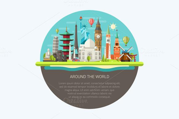 Around The World Illustration Card