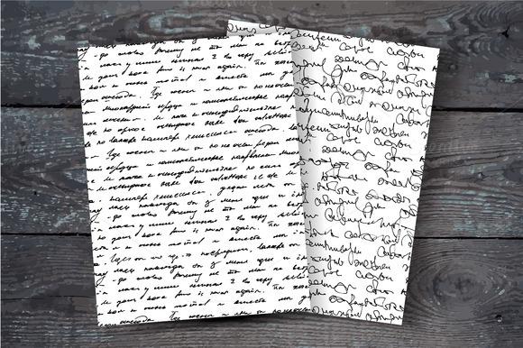 Handwritten Text Seamless Patterns