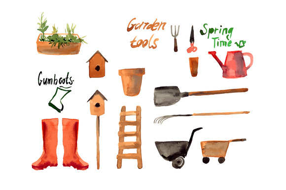 A Set Watercolor Of Gardening Tool
