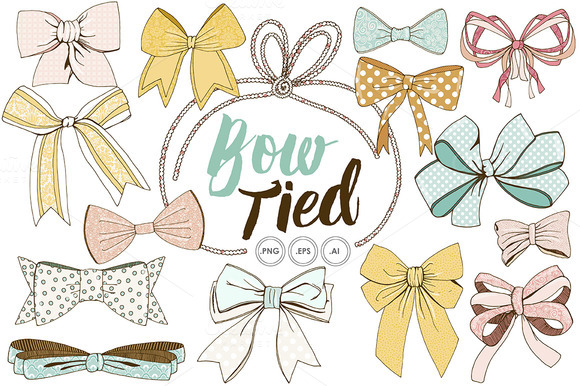 Wispy Tied Bow ClipArt Vector PNG