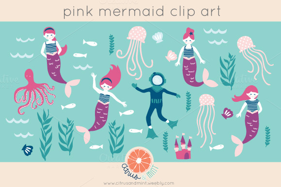 Pink Mermaid Digital Clip Art