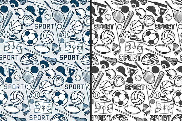 Sport Pattern With Vintage Badges