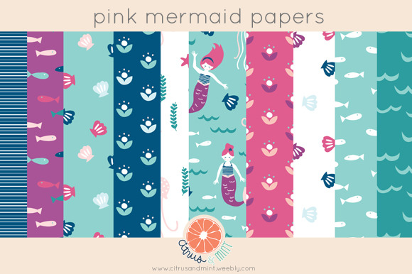 Pink Mermaid Paper Pack