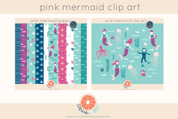 Pink Mermaid Clip Art And Papers