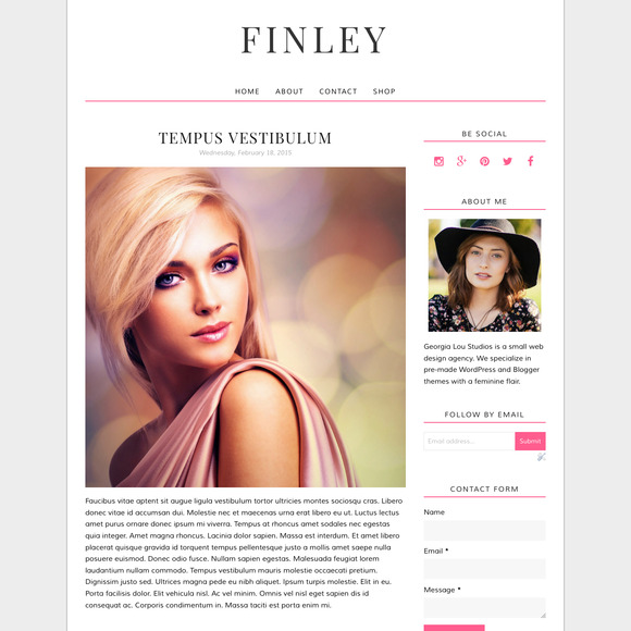 Blogger Template Pink Finley