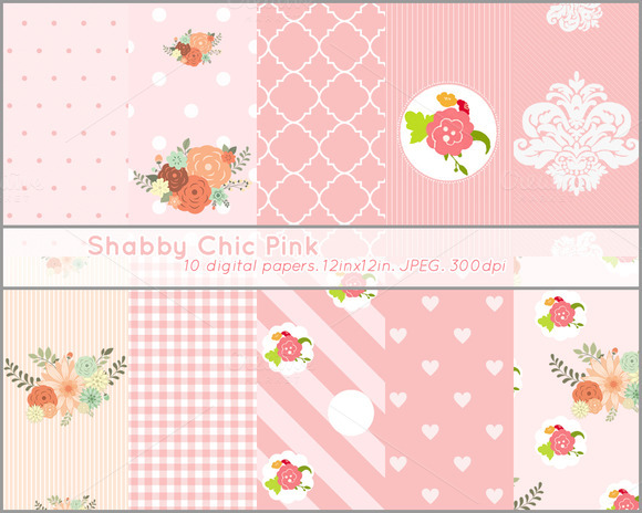 10 Shabby Chic Pink Digital Papers