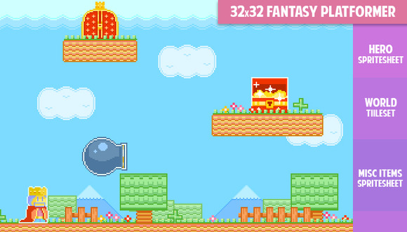 32x32 Fantasy Platformer Gamepack